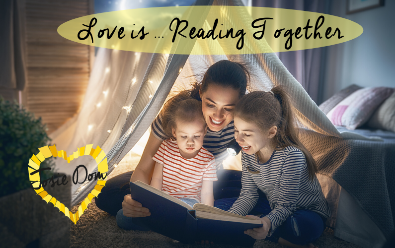 Mum and children reading