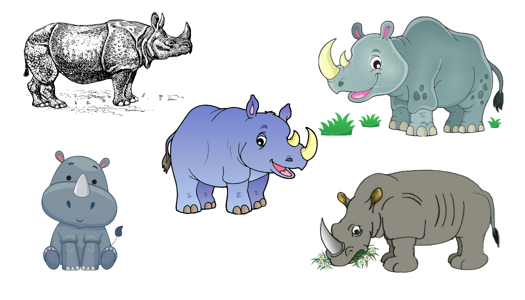 Illustrations of rhinos for Josie's Brave Brian book