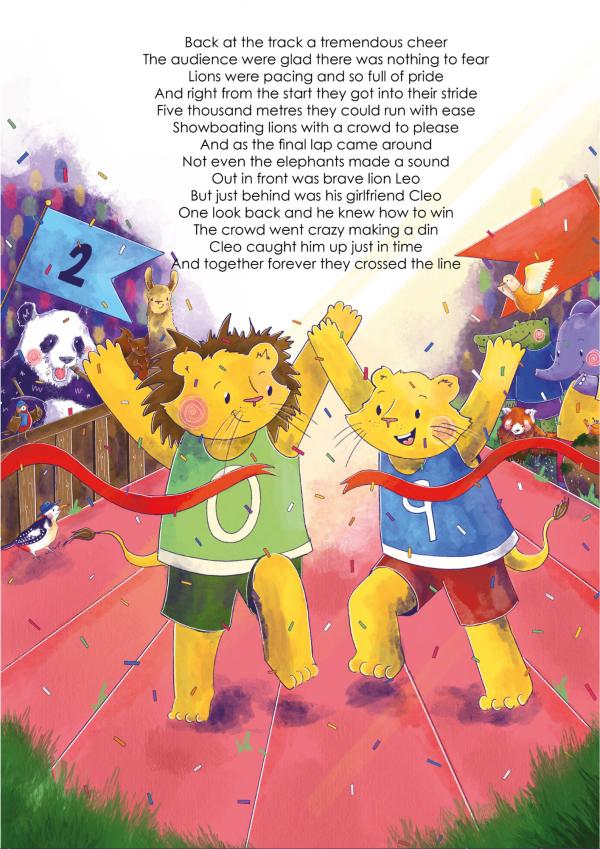 A4 Art Print of Animalympics Lions 5k race