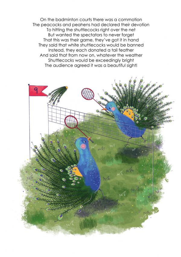 A4 Art Print of Animalympics Peacock playing Badminton
