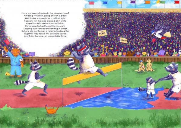 A4 Art Print of Animalympics Racoons Steeplechase