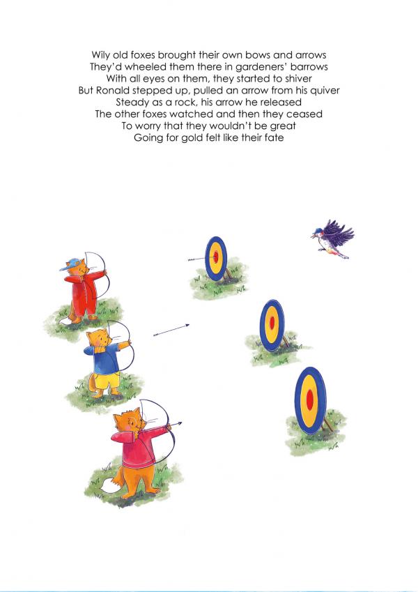 A4 Art Print of Animalympics Foxes Archery