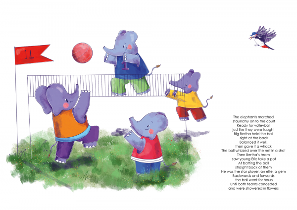 A4 Art Print of Animalympics Elephants playing Volleyball