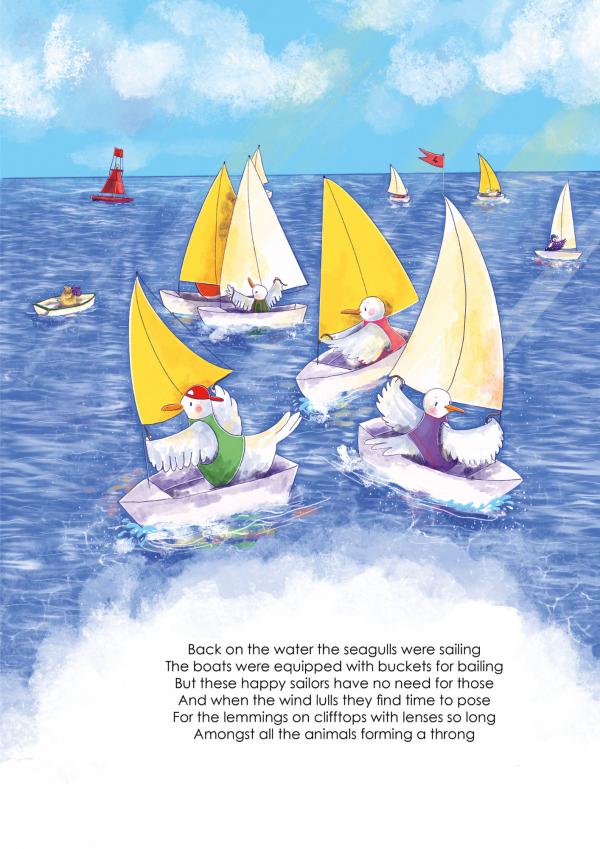 A4 Art Print of Animalympics Seagulls Sailing