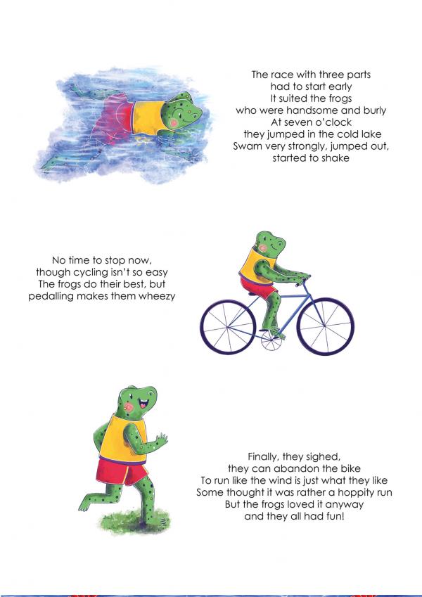 A4 Art Print of Animalympics Frogs Triathlon