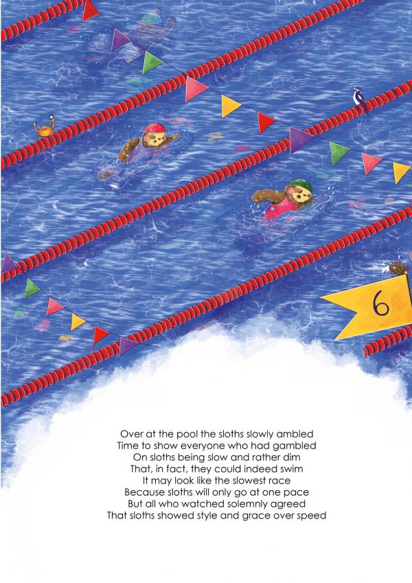A4 Art Print of Animalympics Sloths Swimming